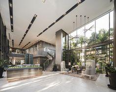 Whizdom Rachada - Thapra by MQDC Lobby Interior, Office Interior Design, Office Interiors, Home Interior, Office Entrance, Office Lobby, Sales Office, Lounge Design, Lounge Decor