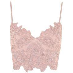 Topshop Embroidered Cutwork Bralet (£25) ❤ liked on Polyvore featuring tops, blush, cut-out crop tops, pink going out tops, pink top, pink crop top and embroidered top