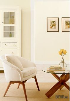 Warm and buttery, a subtle coat of yellow paint in any room of your home is sure to add a comforting twist. By adding BEHR paint in Rainforest Dew and White Corn to your space, your home will have a light and airy feel as well!