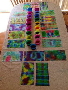 Looking for something fun to do with leftover egg coloring? How about paper towel tie-dye?! Use the same folding techniques that are use for t-shirts, but with paper towels instead. Hours of inexpensive fun for he family!