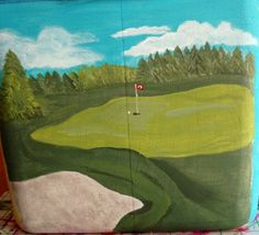 Painted golf course for custom cooler.  Custom order from www.etsy.com/shop/PreppyPinkPersonal