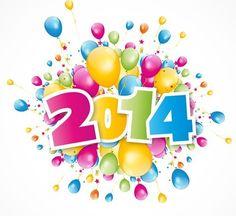 Happy New Year 2014 Text Design Vector 04