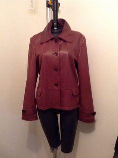 Tristan & Isout Women's Brown Leather Jacket Large L    eBay