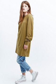 Urban Renewal Vintage Originals – Warmes Raglan-Sweatshirt in Khaki