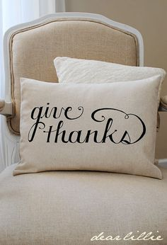 Thanksgiving pillow- she used SHARPIE for her Christmas pillows!