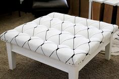 The Sassy Pepper: DIY: Poor Sad Coffee Table to Super Chic Ottoman-excellent tutorial for the padding!