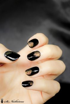 black matte nails with matte glitter chevron tip