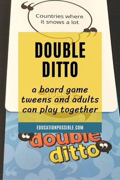 Double Ditto is an incredibly fun, quick-thinking board game for tweens, teens, and families. Players write down words that fit a certain category and try to match each other's responses. You can also easily modify the game to use in your homeschool. It's simple to add to lesson plans to review material in any subject. I've shared some ideas for science, geography, language arts, and American history. Teens will want to play this with friends or during family game night. Have you played it? Best Family Board Games, Fun Board Games, Family Games, Fun Games, Tween Games, Educational Board Games, Minute To Win It Games, Quick Thinking, Classic Board Games