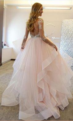 Ball Gown Long Sleeve Wedding Dresses,Wedding Dress,Custom Made Wedding Gown