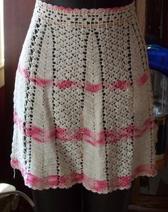 Vintage Handmade Crochet Half Apron /White & Pink/ Shabby Chic Pink/ Retro/ 1950's /Kitchen by kd15 on Etsy