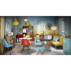 Buffet vintage en bois jaune/gris/blanc L 180 cm