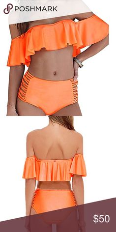 🍊 off the shoulder ruffle 👙 Everyone's gotta have swimsuit comes in beautiful 🍊 this color pops.  Get it before it's gone!  Brand new never worn with tags🚭🚫🐶🚫🐱🏡 Swim Bikinis