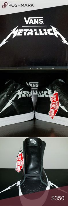 Vans X METALLICA shoes - Kirk Hammett SK8-HI Reiss Vans Metallica, one of the greatest and most influential heavy metal bands of all time, has teamed up with Vans for a brand new collection that rocks hard. Inspired by Vans' deep roots in music and Metallica's revolutionary sound, the Vans x Metallica Sk8-Hi Reissue features full grain leather uppers with the iconic Metallica logo wrapped around the sides, a tonal deco-stitched sidestripe, an engraved Metallica logo on the sidewalls, and a…