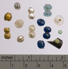 Glass Beads from Mosfell Excavations.  Found in the Hrísbrú Longhouse, Iceland.  Viking Age.