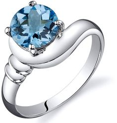 Ice 1 1/2 CT TW Swiss Blue Topaz Sterling Silver Fashion Ring
