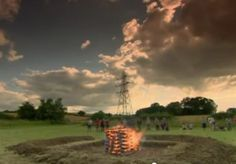 Time Team reconstructed Anglo-Saxon pyre in full blaze