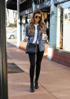 Black, jeans, and outfit image. Casual Work Outfits, Stylish Outfits, Fall Outfits, Looks Style, Casual Looks, Look Legging, Look Fashion, Fashion Outfits, Jeans Fashion