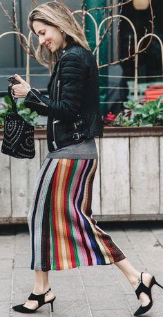 Black Biker Jacket, Gray Top, Multi Stripe Midi Skirt , Black Slingbacks | LFW Street Style | Collage Vintage