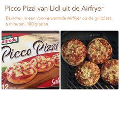 Picco Pizzi uit de Airfryer. 6 minuten, 180 graden. AK Air Flyer, Philips Air Fryer, Actifry, Multicooker, Air Fryer Recipes, Quiche, Cravings, Fries, Recipies