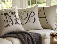 COPYCAT CHIC ~ Monogrammed pillows from Pottery Barn ~ Inspiration to make these using Heat Transfer sheets and the Silhouette cutting machine ~