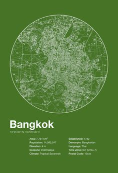Street Map Art City Print Bangkok Thailand by EncoreDesignStudios