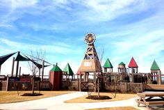 Windmill Playground located in Frontier Park, Prosper. A playground paradise for toddlers and young kids. #splashpad #picnic #trail #park