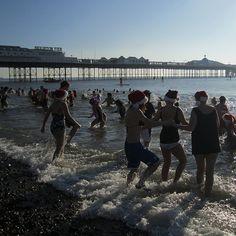 Brighton Christmas day Santa swim