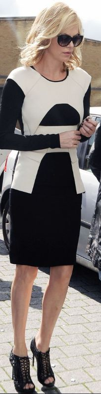 Who made Charlize Theron's black sandals and black and white dress that she wore in Arundel on May 11, 2012?