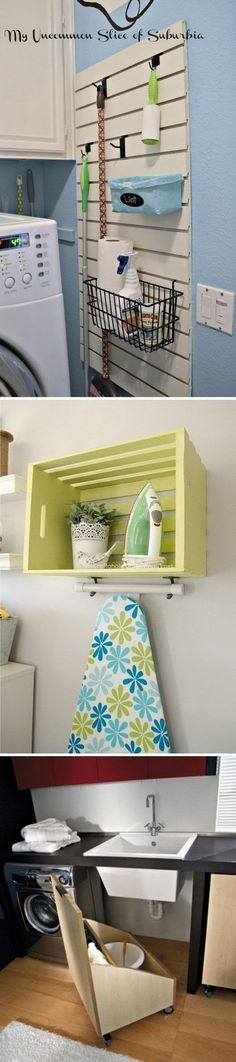 Clever laundry room organization and storage ideas..