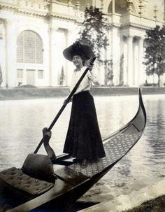 """Gondola girl."" Transportation at the 1904 World's Fair."