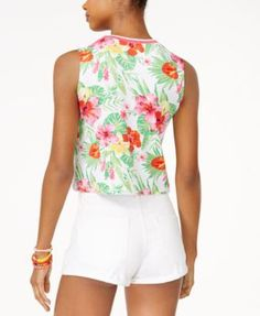 The Edit By Seventeen's Printed Crop Tank Top, Only at Macy's - Tropical XL