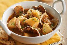 recetas navidenas patatas con almejas Xmas Food, Sweet Potato, Potato Salad, Tapas, Seafood, Potatoes, Pasta, Vegetables, Ethnic Recipes