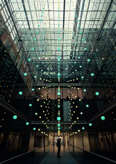 'Pixel Cloud', an art installation in the atrium of Allen & Overy's office building, Bishops Square, London