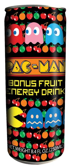 Pac-man Bonus Fruit Energy Drink :-: I challenge any fan not to see this can and want to buy it!! Another Namco sanctioned food product the can is wildly colorful and an excellent tribute to that wonderful game. Doubtless the concoction inside it just horrible...but will give you that 8-bit energy needed to completed all 255 levels of the game. This can is a necessary addition to an Pac-man collection.