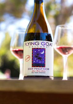 2009 Flying Goat Cellars Sta. Rita Hills Pinot Noir Rio Vista Vineyard Dijon Rio Vista, Santa Barbara County, Pinot Noir, Wine Tasting, Wine Recipes, Goat, Wines, Vineyard, Bottle
