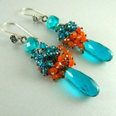 Teal Blue Quartz and Carnelian Wire Wrapped Earrings