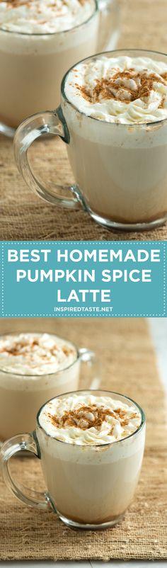 Make the popular coffee house pumpkin latte at home. The best homemade pumpkin spice latte recipe with pumpkin puree, coffee, milk, vanilla and fall spices. Recipe on inspiredtaste.net | @inspiredtaste