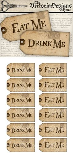 Printable Drink Me Eat Me Tags Alice in Wonderland Decor Party
