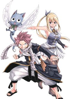Fairy Tail Lucy Heartfilia and Natsu Dragneel after one year time skip.