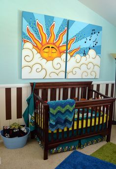 Dylan's Musical Theme Nursery with piano key board wall and hand-painted Mural by Crystal Dominguez