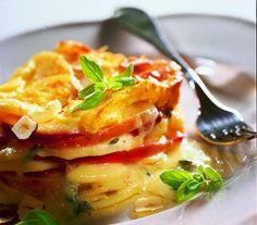 Apfel-Kartoffel-Gratin mit Blauschimmelkäse