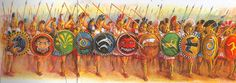 """""""Spartans excuse, without penalty, the warrior who loses his helmet or breastplate in battle.....but punishes, with loss of all citizenship rights, the man who discards his shield. For a warrior carries helmet and breastplate for his own protection, but his shield for the safety of the whole line."""" Ancient Art, Ancient History, Roman Warriors, Hellenistic Period, Greek Warrior, Spartan Warrior, Mycenaean, Medieval Fantasy, Bronze Age"""