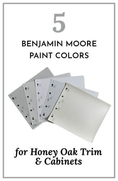 Five light neutral paint colors from Benjamin Moore that look beautiful with honey oak trim, cabinetry, floors, and paneling.
