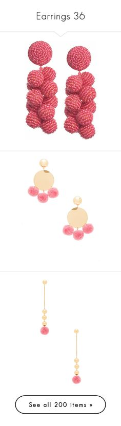 """""""Earrings 36"""" by coollavinia ❤ liked on Polyvore featuring jewelry, earrings, long clip earrings, clip earrings, long earrings, earring jewelry, rose jewelry, elizabeth and james, gold plated earrings and pom pom earrings"""