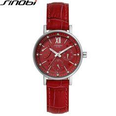 128.80$  Buy here - http://ali687.worldwells.pw/go.php?t=32454601830 - SINOBI Wathes Women Red Genuine Leather Strap Luxury Female Watch Rattrapante Outdoor Date Blue Quartz Ladies Wristwatch 1136