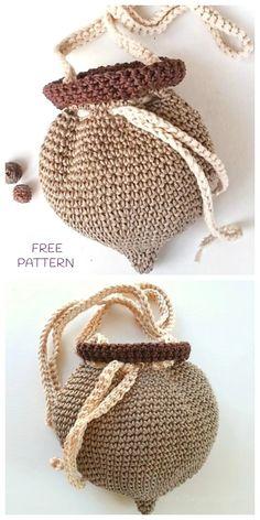 Crochet Little Acorn Project Bag Free Crochet Pattern for Crochet Lovers: acorn pouch bag for kids, acorn yarn bag Crochet Fall, Cute Crochet, Crochet Crafts, Crochet Projects, Knit Crochet, Crochet Granny, Crochet Motif, Crotchet, Crochet Handbags