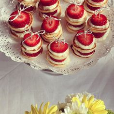 Cute baby shower food idea. Baby pikelets with bows!