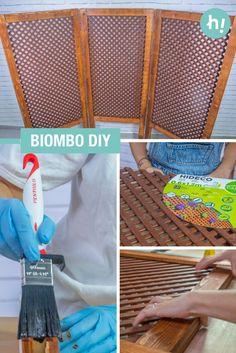Biombo con una celosía ➜  Hazte un biombo con una celosía y listones de madera para separar espacios en casa. #DIY #Decoración #Handfie