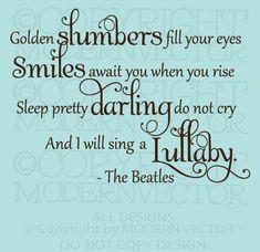 The Beatles Quote Vinyl Wall Decal Lettering Golden SLUMBERS Nursery Baby Decor | eBay