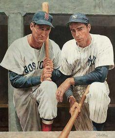 Ted Williams and Joe DiMaggio, by Ron Stark New York Yankees Baseball, Baseball Art, Cardinals Baseball, Sports Baseball, Baseball Players, Boston Baseball, Damn Yankees, Basketball, Hockey Goalie